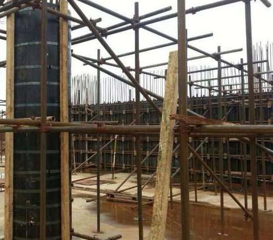 圆柱木模板施工